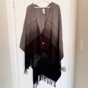 Roots Grey black tassels Scarf Cape Wrap Poncho